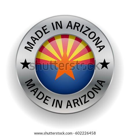 Stamped Made Arizona Symbol State Design Stock Vector 602226458