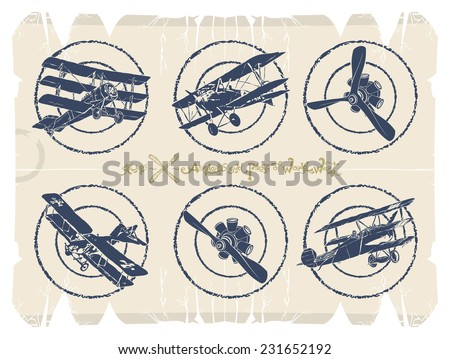 Stamps - airplanes and motors, vector