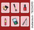 stamps collection - cosmetics set - stock vector
