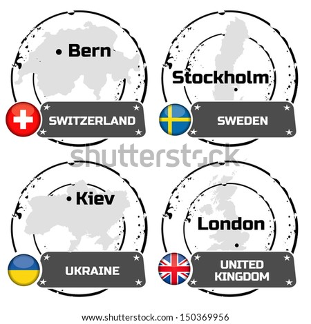 stamps european country - stock vector