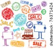 stamps for sale and shopping - stock vector