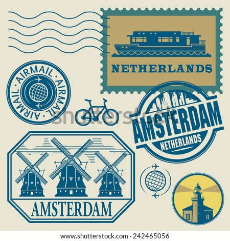 Stamps set with words Netherlands, Amsterdam inside, vector illustration - stock vector