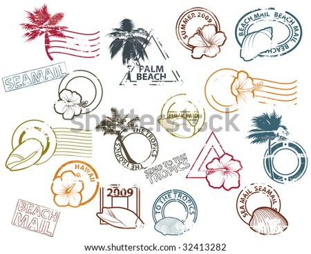 Stamps to The Tropics - stock vector