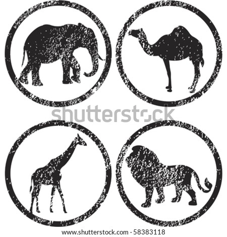 stamps with african animals - stock vector