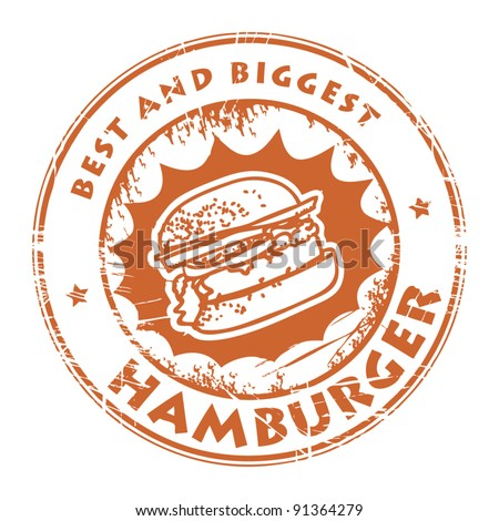 Stamps with the word hamburger inside, vector illustration