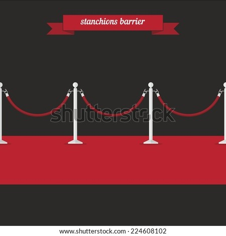 Stanchions barrier. Flat style design - vector - stock vector