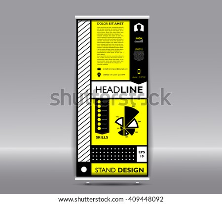 Stand banner with roll up display. For product promotion or resume template package for design support of poster. Vector illustration eps 10. Colorfully - stock vector