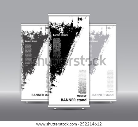 Stand banner with roll up display.  For product promotion or template design. grunge style. - stock vector