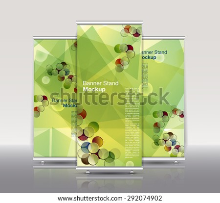 Stand banner with roll up display. For product promotion or template design. Modern style. Abstract background with green and yellow polygons. - stock vector