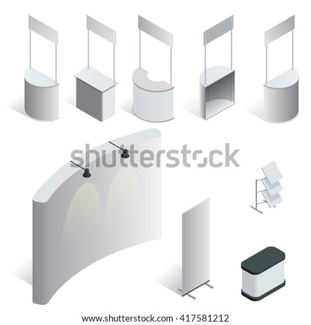 Stand,  exhibition stand,  trade show,  trade show stand,  fashion design,  expo stand, Promotion Stand, Promotion Stand vector, Promotion Stand isometric, Promotion Stand, flat, Promotion Stand 3d - stock vector