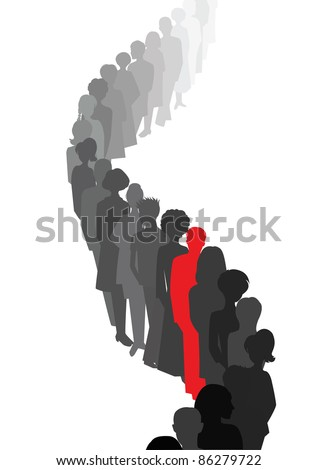 Stand out in a queue - stock vector