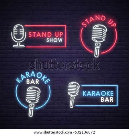 Stand karaoke bar neon sign neon stock vector 632106872 shutterstock stand up and karaoke bar neon sign neon sign bright signboard light banner aloadofball Image collections