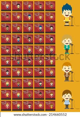 stand up comedian cartoon character bundle - stock vector