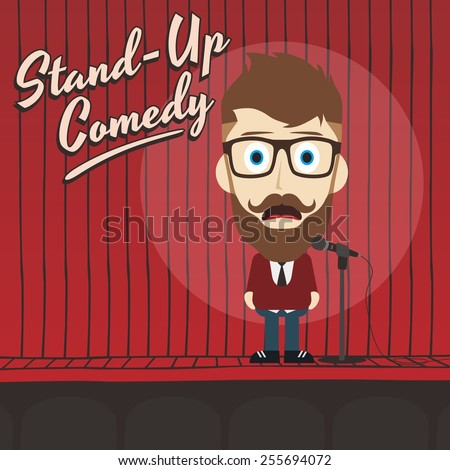 stand up comedian cartoon character - man with mustache and beard - stock vector