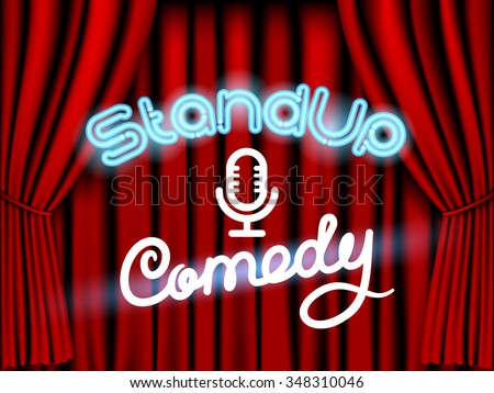 stand up comedy neon lettering live stage with red curtain - stock vector