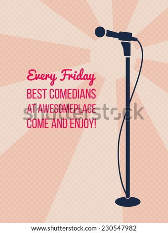 Stand up comedy or karaoke event pink poster. Retro style vector illustration with silhouette of standing microphone and text best comedians. - stock vector