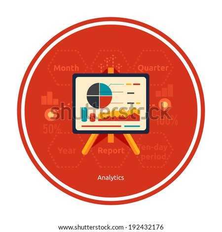 Stand with charts and parameters. Business concept of analytics - stock vector