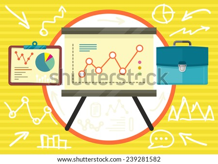 Stand with charts graphs and parameters. Business concept of analytics in flat design - stock vector