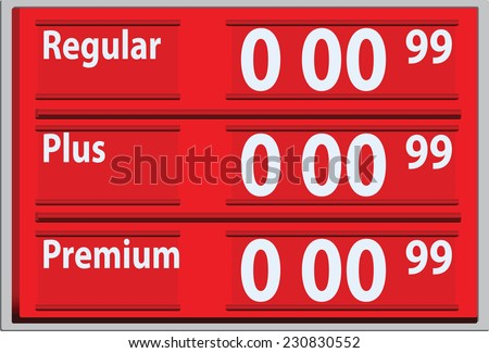 Stand with gasoline prices for the gas station. Vector illustration. - stock vector