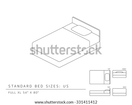 standard bed sizes dimensions stock vector united states full size inches perspective mattress length uk twin canada