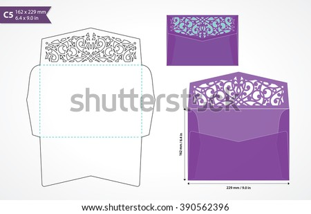 Standard c5 size envelope template with decorative flap to hold a5 size card. Die cut envelope mock up. Decorative envelope for wedding invitation or greeting card. Laser cut vector design. Laser cut. - stock vector