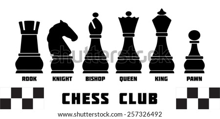 Standard chess pieces named silhouettes: king, queen, rook, bishop, knight. Vector icon set. Infographic template for Chess club or Chess school. Chess pieces vector icon set. Sample text. Editable.  - stock vector
