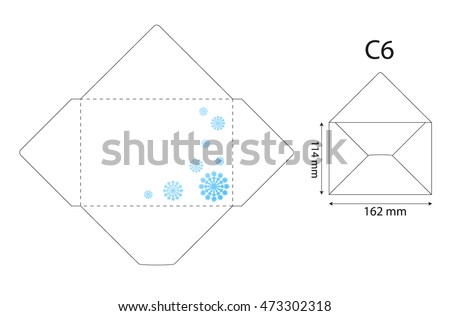 Standard Envelope Template Snowflakes Stock Vector