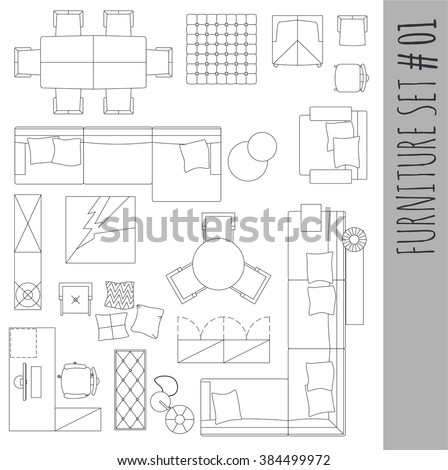 Standard Furniture Symbols Used In Architecture Plans Icons Set, Graphic  Design Elements,home Planning