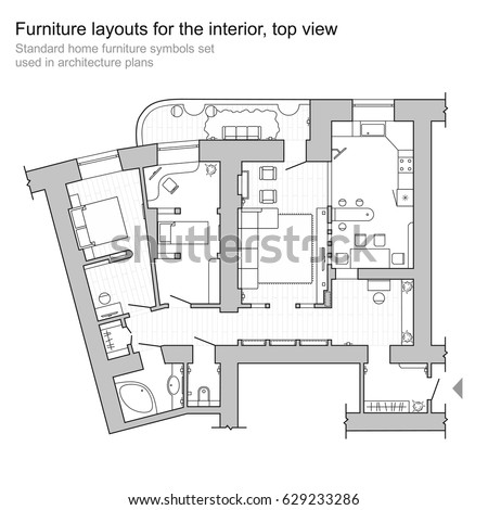 Standard Home Furniture Symbols Set Used In Architecture Plans Planning Icon Graphic