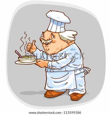 Standard illustration of Cook Chief holding a dish with a soup.