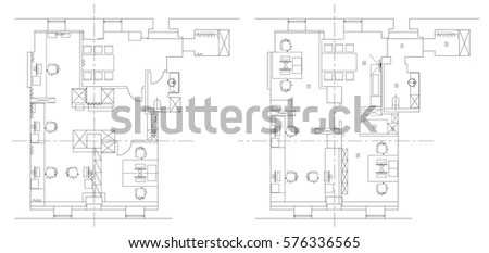office furniture floor plan. Standard office furniture symbols set used in architecture plans  planning icon graphic Office Furniture Symbols Set Used Stock Vector 576336565