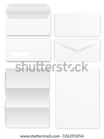 Standard size envelopes for a4 format, two design type. Vector template - stock vector
