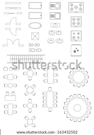 Standard Symbols Used In Architecture Plans Icons Set - stock vector