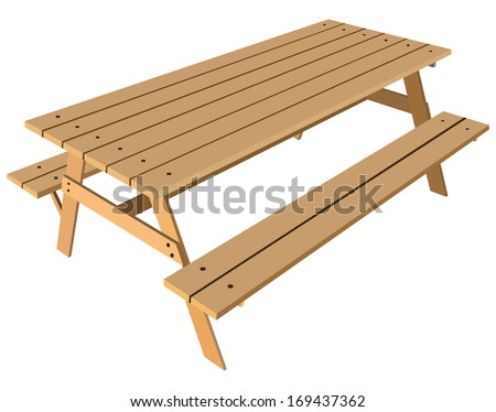 Standard table with benches on either side of the table. Vector illustration. - stock vector