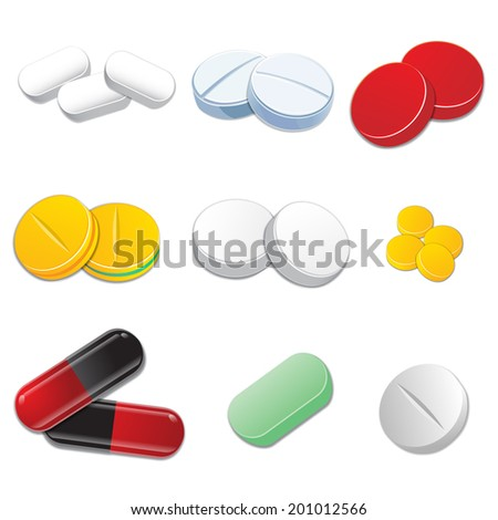 Standard tablets and pills vector set isolated on white background. - stock vector