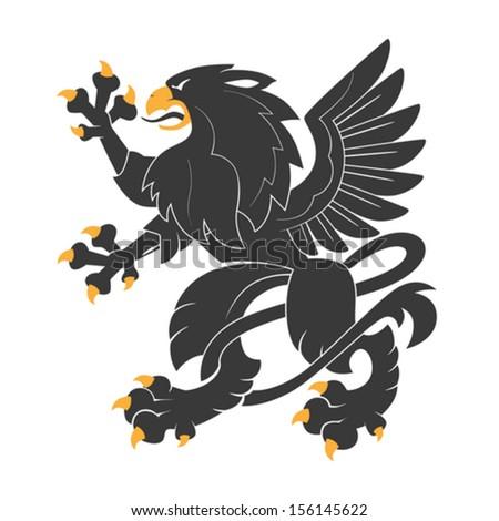 Standing Black Heraldic Griffin - stock vector