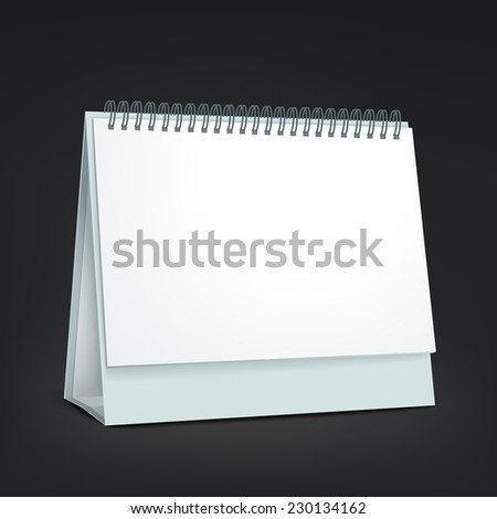 standing blank calendar isolated on black background - stock vector