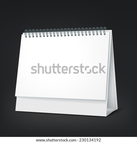 standing blank calendar isolated on black background - stock vector