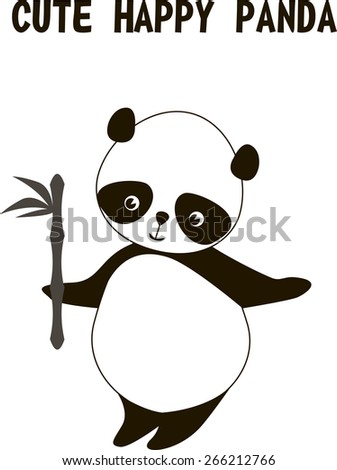 Standing cute little panda bear isolated on a white background, vector illustration - stock vector
