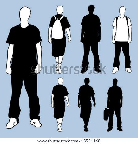 Standing figure variations - stock vector