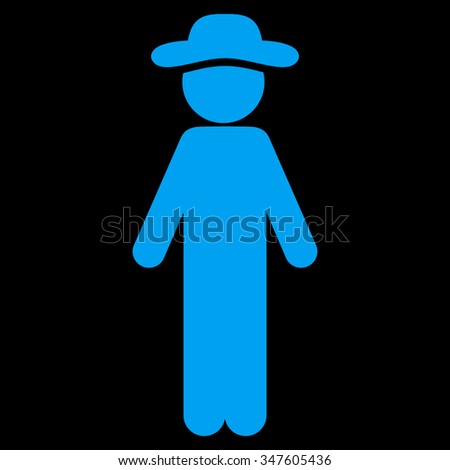 Standing Gentleman vector icon. Style is flat symbol, blue color, rounded angles, black background.