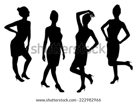 Standing Girls Silhouettes - stock vector