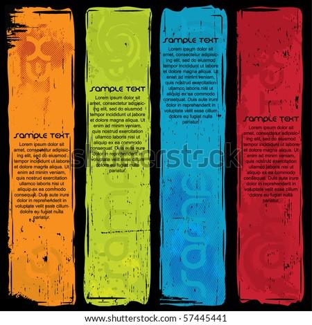 Standing Grunge Banner Set - stock vector