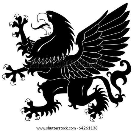 Standing heraldic griffin - stock vector