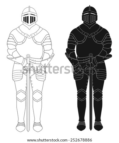 Standing knight medieval armor statue. Vector clip art illustration isolated on white. Contour lines, silhouette - stock vector