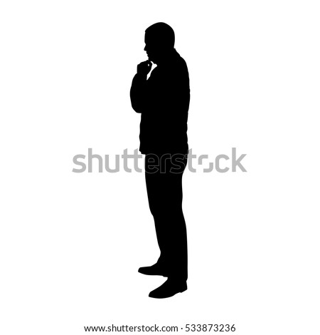 Standing man in jacket thinking, vector silhouette, profile, side view