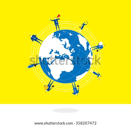Standing on the Earth-A group of business people stand around on a globe. - stock vector