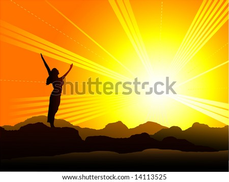 Standing on Top of the World - stock vector