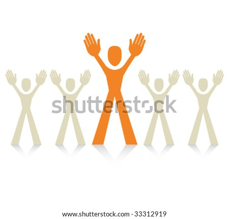 Standing out from the crowd vector. - stock vector