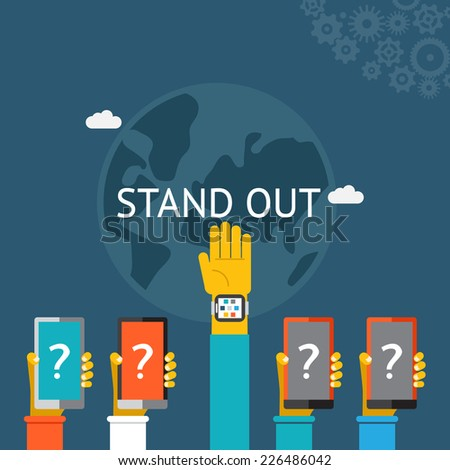 Standing out from the crowd with a row of five hands   four with question marks and one held high above the others with the answer  vector illustration on blue - stock vector